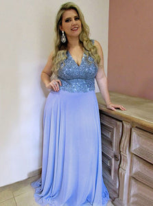 Chiffon A-Line V-Neck Sweep Train Plus Size Prom Dress OP263
