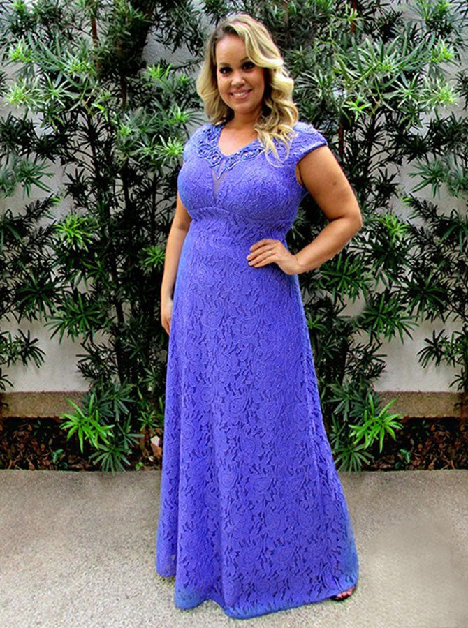 Simple Elegant A-Line Floor Length Lace Plus Size Prom Dress OP262