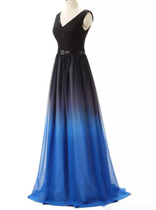 Chiffon A Line Ombre Prom Dresses Gradient Long Formal Gown PO203