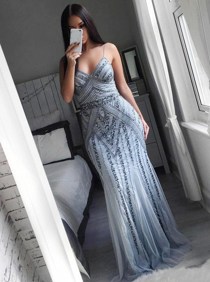 Sexy Spaghetti Straps Tulle Long Mermaid Plus Size Prom Dress OP243
