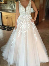 V neck Lace Applique Ball Gown Wedding Dress, Tulle Long Backless Prom Dress OW323