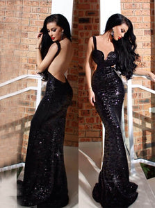 Sequined Straps Cut Out Mermaid Prom Dress, Backless Evening Dress, OP246