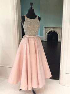 A-Line Tulle Beading Scoop Tea-Length Prom Dress OP247