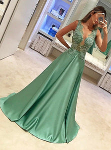 Elegant A-Line Satin Appliques Beading Long Prom Dress OP245