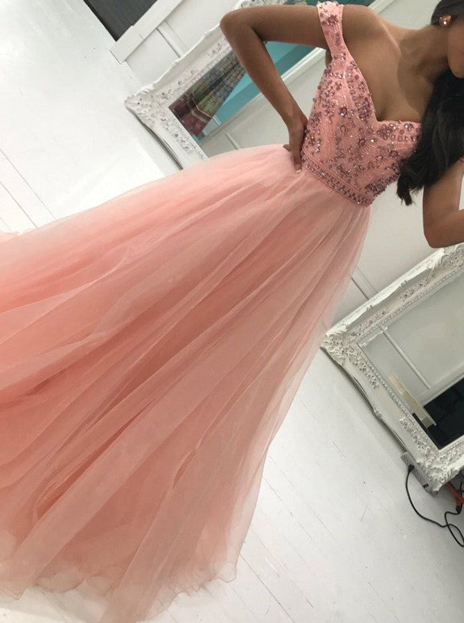 A-Line Off-Shoulder Tulle Prom Dress with Beading OP248