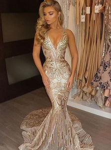 Gold Mermaid V-Neck Court Train Sequined Prom Dress OP251