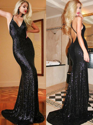 Mermaid Straps V-Neck Criss-Cross Backless Sequined Prom Dress OP250