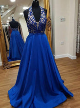 Halter Plunging Neckline Appliques Satin Long Prom Dress with Pockets OP279