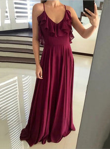 Flowy Flounced Neckline Chiffon Long Backless Prom Dresses PO290