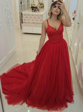 A-line Red Tulle Long Prom Dresses, Straps Formal Party Dress With Beading PO288