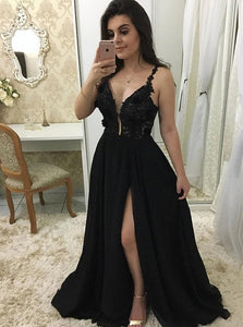 Black Long Prom Dresses with Appliques, Sexy Split Evening Dress PO291