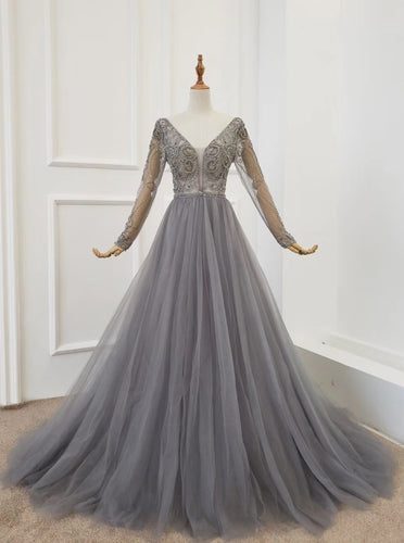 Elegant A-line V-neck Tulle Beading Long Sleeves Silver Prom Dress PO293