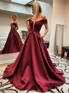 Off Shoulder Burgundy Prom Dresses, Long Graduation Evening Dress With Pockets PO416