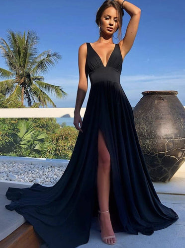 A-line V-neck Long Black Prom Dresses, Simple Long Split Evening Dress PO227