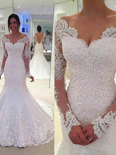 Trumpet V-neck Long Sleeves Lace Applique Court Train Tulle Mermaid Wedding Dresses OW111
