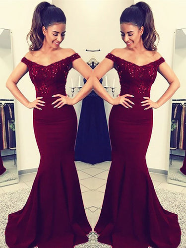 Satin Mermaid Off-the-Shoulder Sleeveless Floor-Length Lace Evening Dresses, OP105