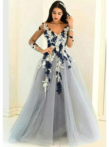 A-Line/Princess V-Neck Tulle Appliques Prom Dress With Long Sleeves OP285