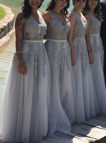 A-Line/Princess V-neck Appliques Gray Long Bridesmaid Dresses OB154