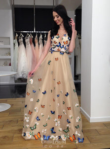 A-Line 3D Butterfly Floral Appliques Prom Dress Long Teens Dress OP618