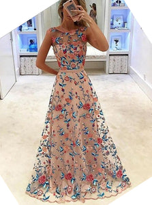 A-Line Bateau Tulle Long Prom Dress with Floral Embroidery OP369