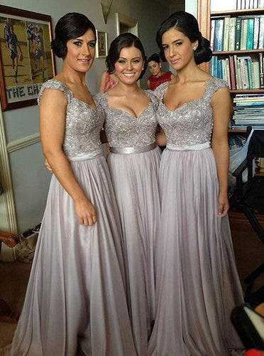 A-Line Chiffon Grey Long Bridesmaid Dresses With Appliques Bodice OB200