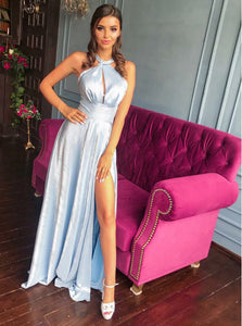 A-Line Halter Keyhole Light Sky Blue Long Prom Dress With Slit OP597