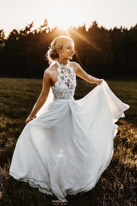 A-Line Halter Lace Chiffon Long Beach Flowy Wedding Dress OW377