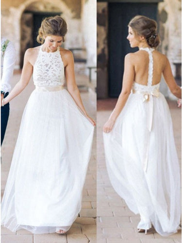 A-Line Jewel Tulle Beach Backless Wedding Dress with Lace OW350
