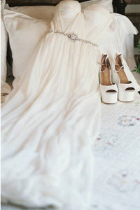 A-Line Off-the-Shoulder Beaded Chiffon Backless Beach Wedding Dress OW370