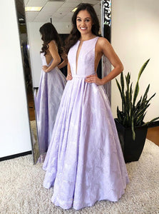 A-Line Plunging Round Neck Lilac Long Prom Dress with Pleats OP492