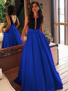 A-Line/Princess Plunging V-neck Satin Blue Prom Evening Dress OP335