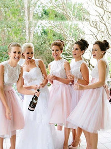 A-Line Round Neck Knee Length Short Lace Bridesmaid Dresses OB148
