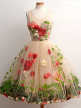 Tulle Short Homecoming Dress A-Line Scoop with 3D Florals OP289