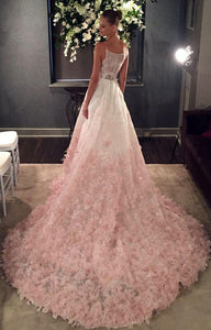 A-Line Spaghetti Straps Ombre Blush Lace Prom Wedding Dresses OP461