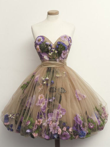 A Line Short Prom Dresses Tulle with 3D Florals, Cute Sweetheart Sweet 16 Dress OP290