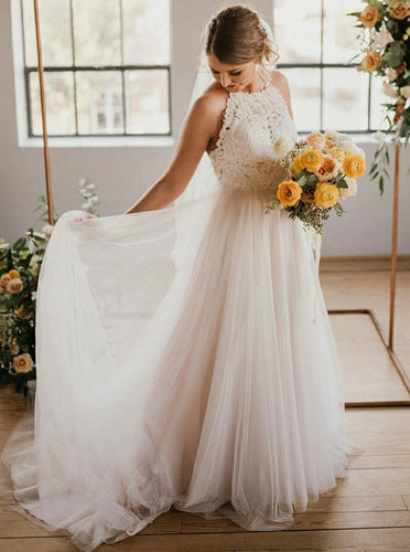 A-Line Tulle Beach Wedding Dress with Lace Round Neck Sweep Train OW399