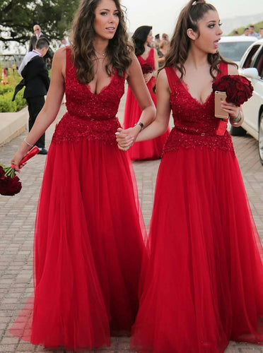 A-Line V-Neck Appliques Beading Tulle Red Long Bridesmaid Dresses OB157
