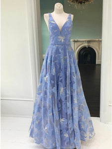 A-Line V-Neck Lace Floral Long Blue Prom Party Dress OP379