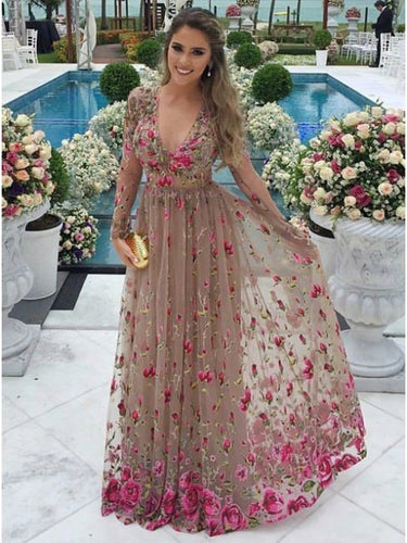 A-Line V-Neck Tulle Long Sleeves Prom Dress with Floral Appliques OP370