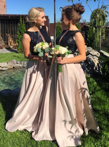 A-line Bateau Black Sequins Satin Long Bridesmaid Dresses OB196