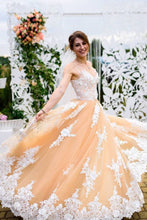 A-line Long Prom Dress With Appliques, Princess Tulle Wedding Gown OP671