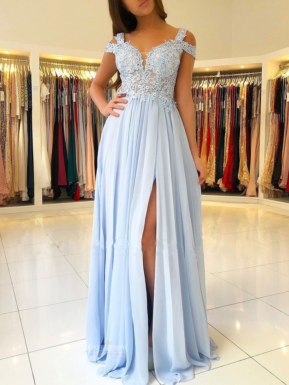 Chiffon Blue Prom Dress A-line/Princess Scalloped Neck With Split OP500