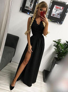 A-line/Princess V Neck Floor Length Black Prom Dress With Slit OP732