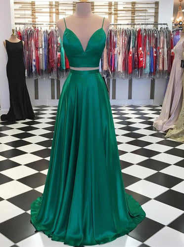 A-line Spaghetti Straps Green Prom Dresses Two Piece With Bowknot Back Gown OP574