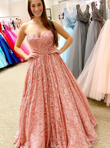 A-line Sweetheart Lace Coral Long Prom Dress Strapless Pageant Gown OP560