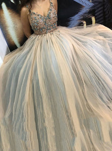 A-line Tulle Appliques Spaghetti-straps Long Prom Party Dresses OP469