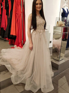 A-line Tulle Scoop Neck Long Prom Dress With Beading Appliqued OP729