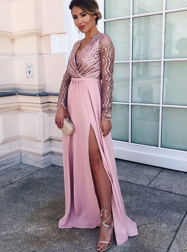 A-line V-neck Long Sleeves Satin Pink Long Prom Dress With Split OP340