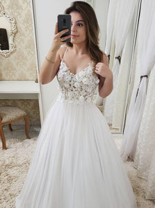 A Line Floral Appliques Bodice Prom Dress, Spaghetti Strap Beach Bridal Gowns OP656