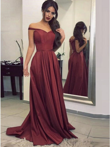 A Line Long Burgundy Prom Dress, Off The Shoulder Party Gown OP276